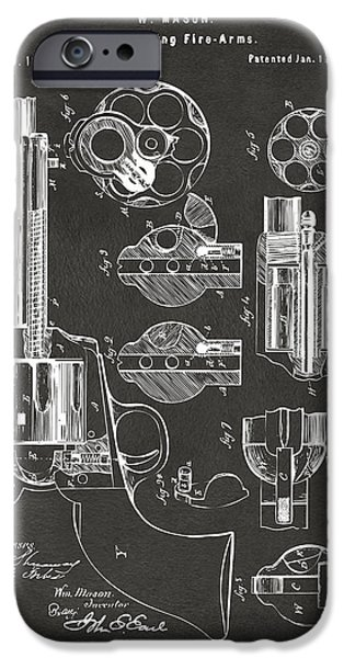 Colt 45 iPhone Cases - 1875 Colt Peacemaker Revolver Patent Artwork - Gray iPhone Case by Nikki Marie Smith