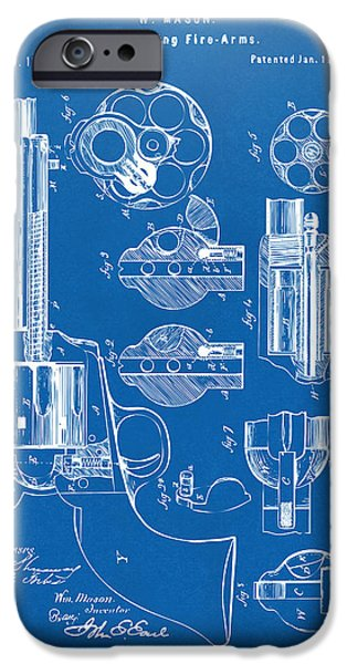 Weapon iPhone Cases - 1875 Colt Peacemaker Revolver Patent Blueprint iPhone Case by Nikki Marie Smith