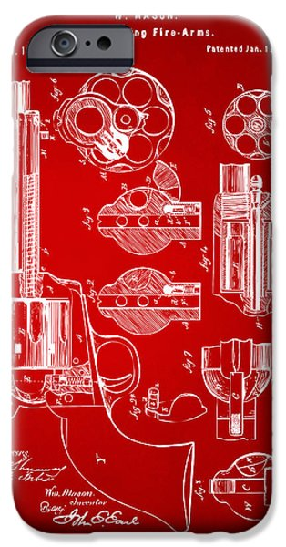 Weapon iPhone Cases - 1875 Colt Peacemaker Revolver Patent Red iPhone Case by Nikki Marie Smith