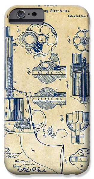 Colt 45 iPhone Cases - 1875 Colt Peacemaker Revolver Patent Vintage iPhone Case by Nikki Marie Smith