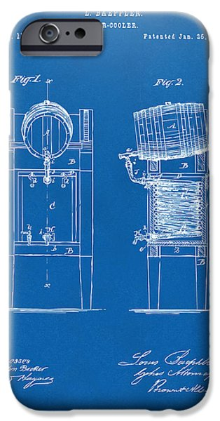 Waiting Room Art iPhone Cases - 1876 Beer Keg Cooler Patent Artwork Blueprint iPhone Case by Nikki Marie Smith