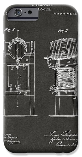 Negro iPhone Cases - 1876 Beer Keg Cooler Patent Artwork - Gray iPhone Case by Nikki Marie Smith
