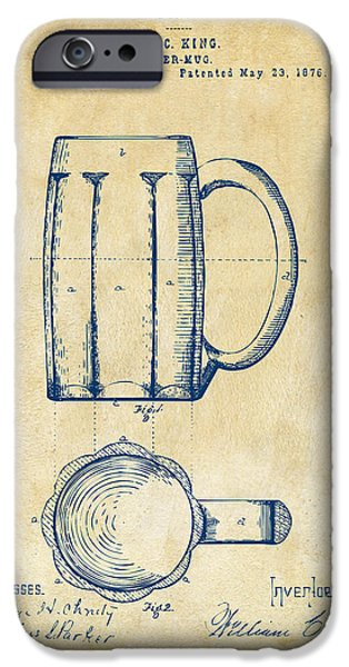 Food And Beverage Digital iPhone Cases - 1876 Beer Mug Patent Artwork - Vintage iPhone Case by Nikki Marie Smith