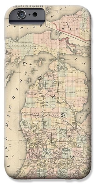 1876 Paintings iPhone Cases - 1876 Rail Road Map Michigan iPhone Case by Celestial Images