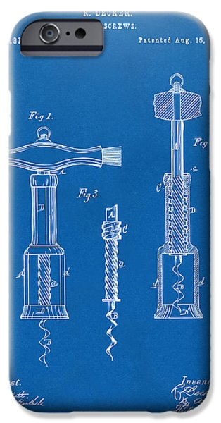 Wine Illustrations iPhone Cases - 1876 Wine Corkscrews Patent Artwork - Blueprint iPhone Case by Nikki Marie Smith