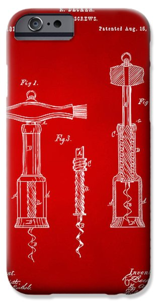 Red Wine iPhone Cases - 1876 Wine Corkscrews Patent Artwork - Red iPhone Case by Nikki Marie Smith