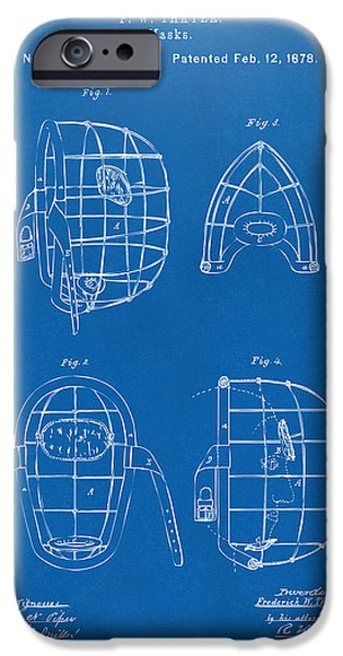 Baseball Pitcher iPhone Cases - 1878 Baseball Catchers Mask Patent - Blueprint iPhone Case by Nikki Marie Smith