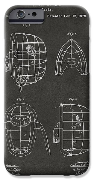 Baseball Glove iPhone Cases - 1878 Baseball Catchers Mask Patent - Gray iPhone Case by Nikki Marie Smith