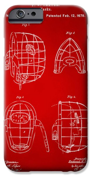 Baseball Glove iPhone Cases - 1878 Baseball Catchers Mask Patent - Red iPhone Case by Nikki Marie Smith