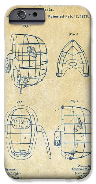 Baseball Pitcher iPhone Cases - 1878 Baseball Catchers Mask Patent - Vintage iPhone Case by Nikki Marie Smith