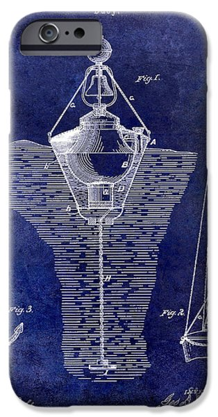 Lighthouse Drawings iPhone Cases - 1878 Buoy Patent Drawing Blue iPhone Case by Jon Neidert