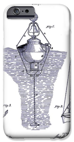 Lighthouse Drawings iPhone Cases - 1878 Buoy Patent Drawing Blueprint  iPhone Case by Jon Neidert