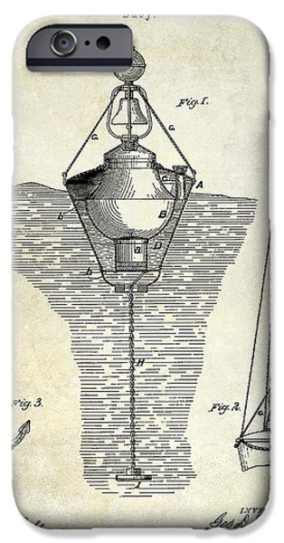 Marker iPhone Cases - 1878 Buoy Patent Drawing iPhone Case by Jon Neidert