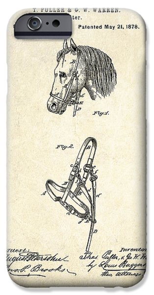 Farm Drawings iPhone Cases - 1878 Horse Halter Patent Art iPhone Case by Gary Bodnar