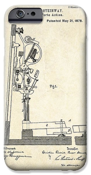 Piano Drawings iPhone Cases - 1878 Steinway Piano Forte Action Patent Art  iPhone Case by Gary Bodnar
