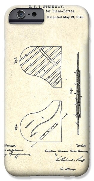 Piano Drawings iPhone Cases - 1878 Steinway Piano Forte Sounding Board Patent iPhone Case by Gary Bodnar