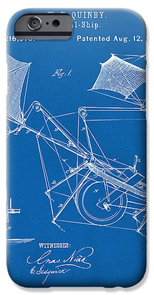1879 Quinby Aerial Ship Patent - Blueprint iPhone Case by Nikki Marie Smith