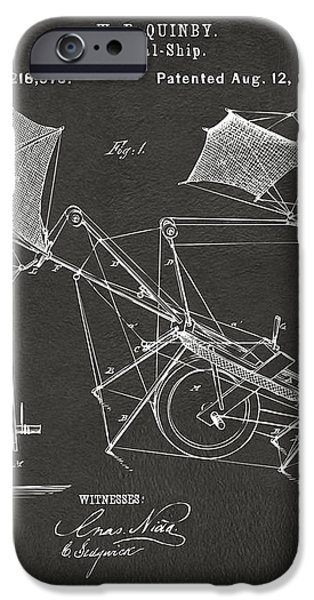 1879 Quinby Aerial Ship Patent - Gray iPhone Case by Nikki Marie Smith