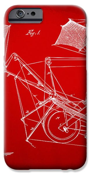 1879 Quinby Aerial Ship Patent Minimal - Red iPhone Case by Nikki Marie Smith