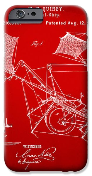 1879 Quinby Aerial Ship Patent - Red iPhone Case by Nikki Marie Smith