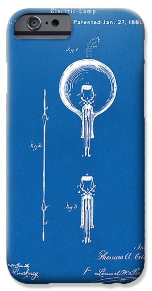 Edison iPhone Cases - 1880 Edison Electric Lamp Patent Artwork Blueprint iPhone Case by Nikki Marie Smith
