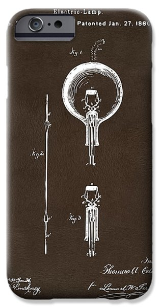 Edison iPhone Cases - 1880 Edison Electric Lamp Patent Artwork Espresso iPhone Case by Nikki Marie Smith