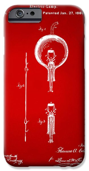 Edison iPhone Cases - 1880 Edison Electric Lamp Patent Artwork Red iPhone Case by Nikki Marie Smith