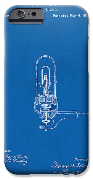 Electricity iPhone Cases - 1880 Edison Electric Lights Patent Artwork - Blueprint iPhone Case by Nikki Marie Smith