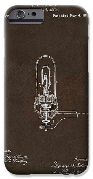 Electricity iPhone Cases - 1880 Edison Electric Lights Patent Artwork Espresso iPhone Case by Nikki Marie Smith