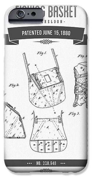 Basket iPhone Cases - 1880 Fishing Basket patent Drawing iPhone Case by Aged Pixel