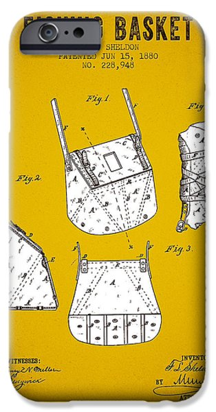 Basket iPhone Cases - 1880 Fishing Basket Patent - Yellow Brown iPhone Case by Aged Pixel