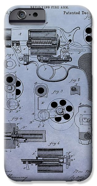Colt 45 iPhone Cases - 1881 Colt Revolver Patent iPhone Case by Dan Sproul