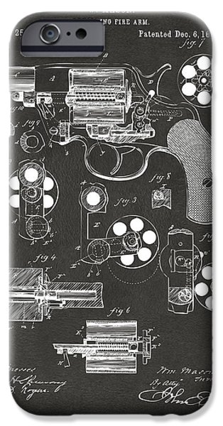 Weapons iPhone Cases - 1881 Colt Revolving Fire Arm Patent Artwork - Gray iPhone Case by Nikki Marie Smith