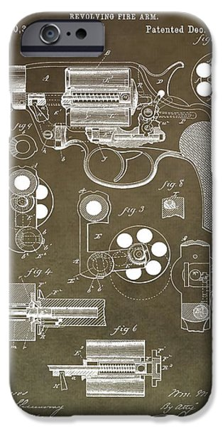 Colt 45 iPhone Cases - 1881 Firearm Patent iPhone Case by Dan Sproul