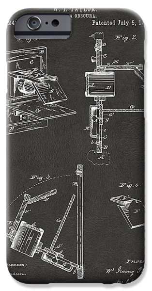 Negro iPhone Cases - 1881 Taylor Camera Obscura Patent Gray iPhone Case by Nikki Marie Smith