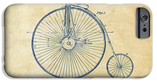 Vintage Bicycle iPhone Cases - 1881 Velocipede Bicycle Patent Artwork - Vintage iPhone Case by Nikki Marie Smith