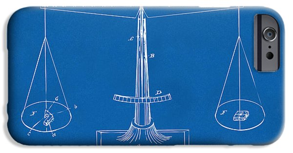 Scale Digital iPhone Cases - 1885 Balance Weighing Scale Patent Artwork Blueprint iPhone Case by Nikki Marie Smith