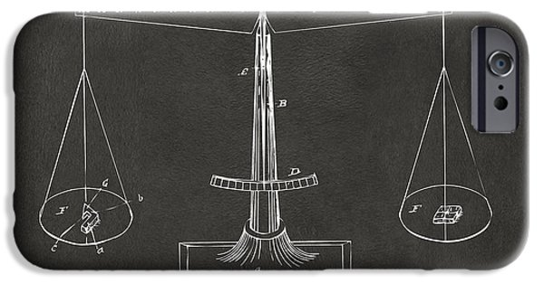 Scale Digital iPhone Cases - 1885 Balance Weighing Scale Patent Artwork - Gray iPhone Case by Nikki Marie Smith