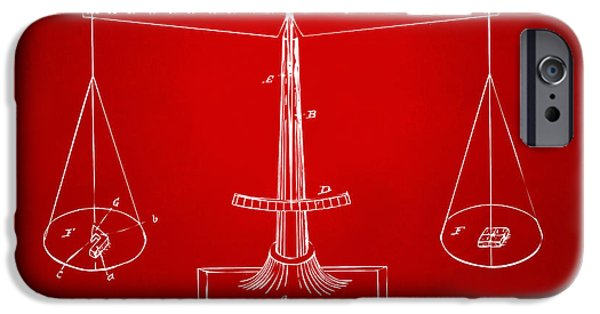 Scale Digital iPhone Cases - 1885 Balance Weighing Scale Patent Artwork Red iPhone Case by Nikki Marie Smith