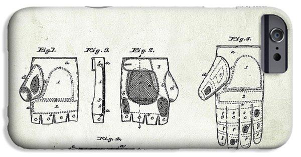 Baseball Glove iPhone Cases - 1885 Baseball Glove Patent Art Rawlings 1 iPhone Case by Nishanth Gopinathan