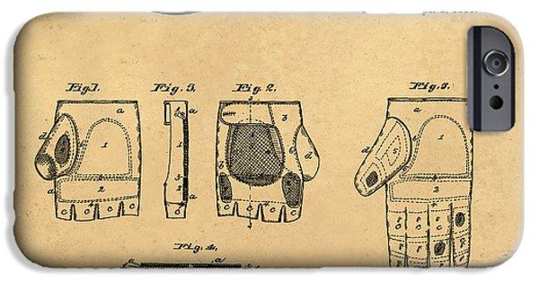 Baseball Glove iPhone Cases - 1885 Baseball Glove Patent Art Rawlings 2 iPhone Case by Nishanth Gopinathan