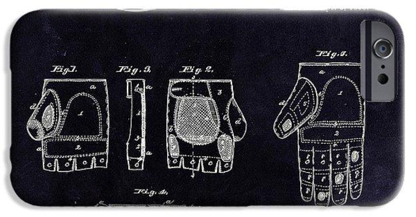 Baseball Glove iPhone Cases - 1885 Baseball Glove Patent Art Rawlings 3 iPhone Case by Nishanth Gopinathan
