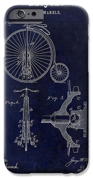 Vintage Bicycle iPhone Cases - 1885 Bicycle Patent Drawing Blue iPhone Case by Jon Neidert
