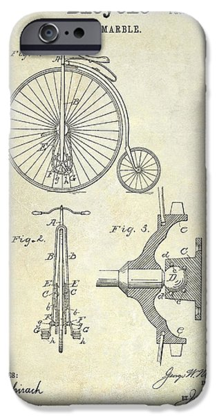 Vintage Bicycle iPhone Cases - 1885 Bicycle Patent Drawing  iPhone Case by Jon Neidert