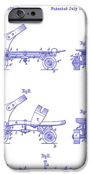 Roller Skates iPhone Cases - 1885 Roller Skate Patent Blueprint iPhone Case by Jon Neidert