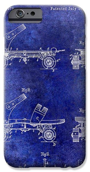 Roller Skates iPhone Cases - 1885 Roller Skate Patent Drawing Blue iPhone Case by Jon Neidert