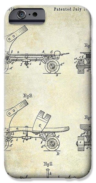 Roller Skates iPhone Cases - 1885 Roller Skate Patent Drawing iPhone Case by Jon Neidert