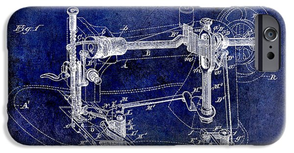 Thread iPhone Cases - 1885 Sewing Machine Patent Drawing Blue iPhone Case by Jon Neidert