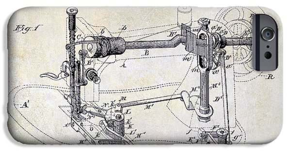 Thread iPhone Cases - 1885 Sewing Machine Patent Drawing iPhone Case by Jon Neidert