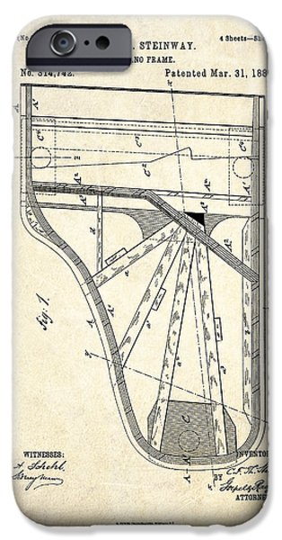 Grand Piano iPhone Cases - 1885 Steinway Piano Frame Patent Art iPhone Case by Gary Bodnar